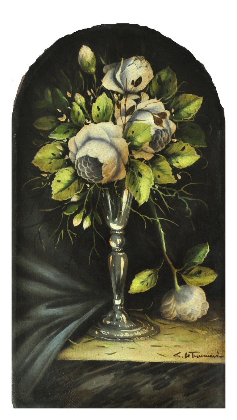 FLOWERS - Carlo De Tommasi Italian still life oil on canvas painting - Old Masters Painting by Carlo De Tommasi