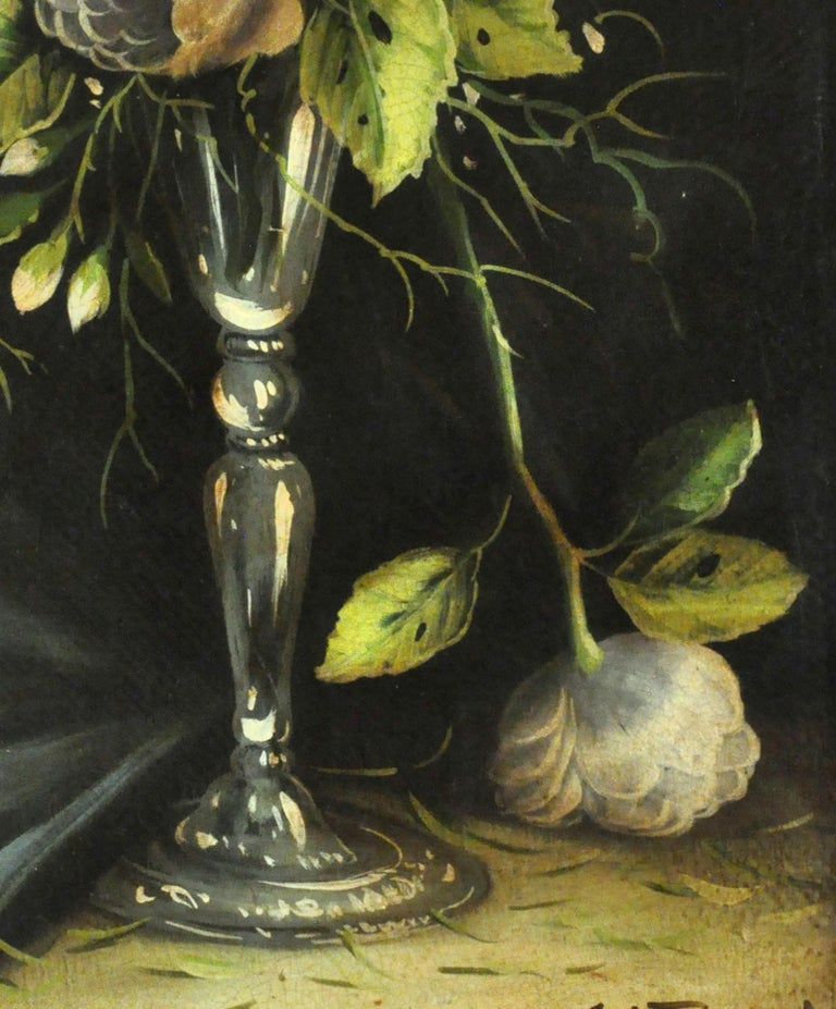 FLOWERS - Carlo De Tommasi Italian still life oil on canvas painting For Sale 2
