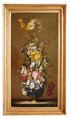 FLOWERS - Carlo De Tommasi Italian still life oil on canvas painting