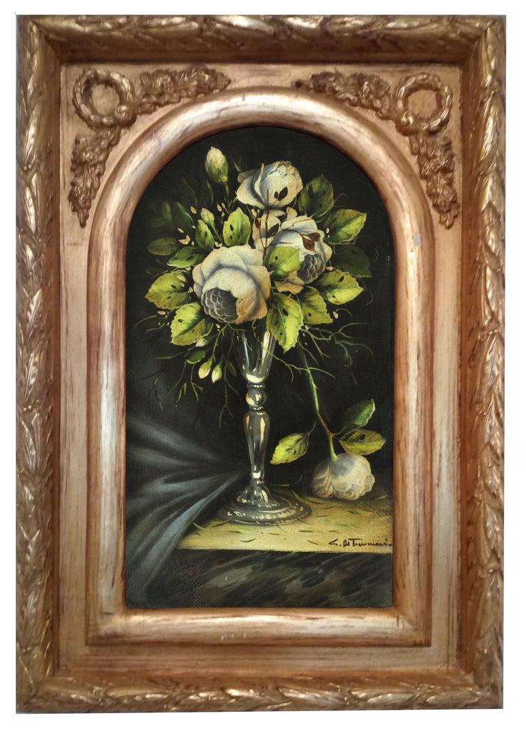 FLOWERS - Carlo De Tommasi Italian still life oil on canvas painting - Painting by Carlo De Tommasi
