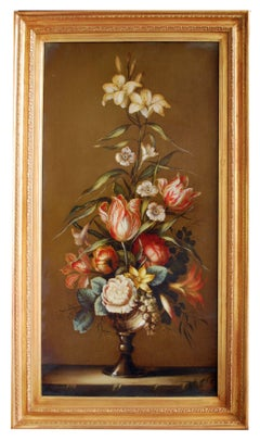 FLOWERS - Carlo De Tommasi Italian still life oil on canvas painting