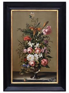 FLOWERS -German School -  Still Life Oil on Canvas  Italian Painting