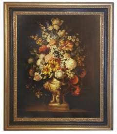 FLOWERS - In the manner of A.Bosschaer Oil on Canvas Italian Still Life Painting