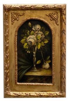 FLOWERS - German School - Still Life Oil on Canvas Italian Painting