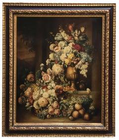 FLOWERS -Dutch School - Italian Still Life Oil on Canvas Painting