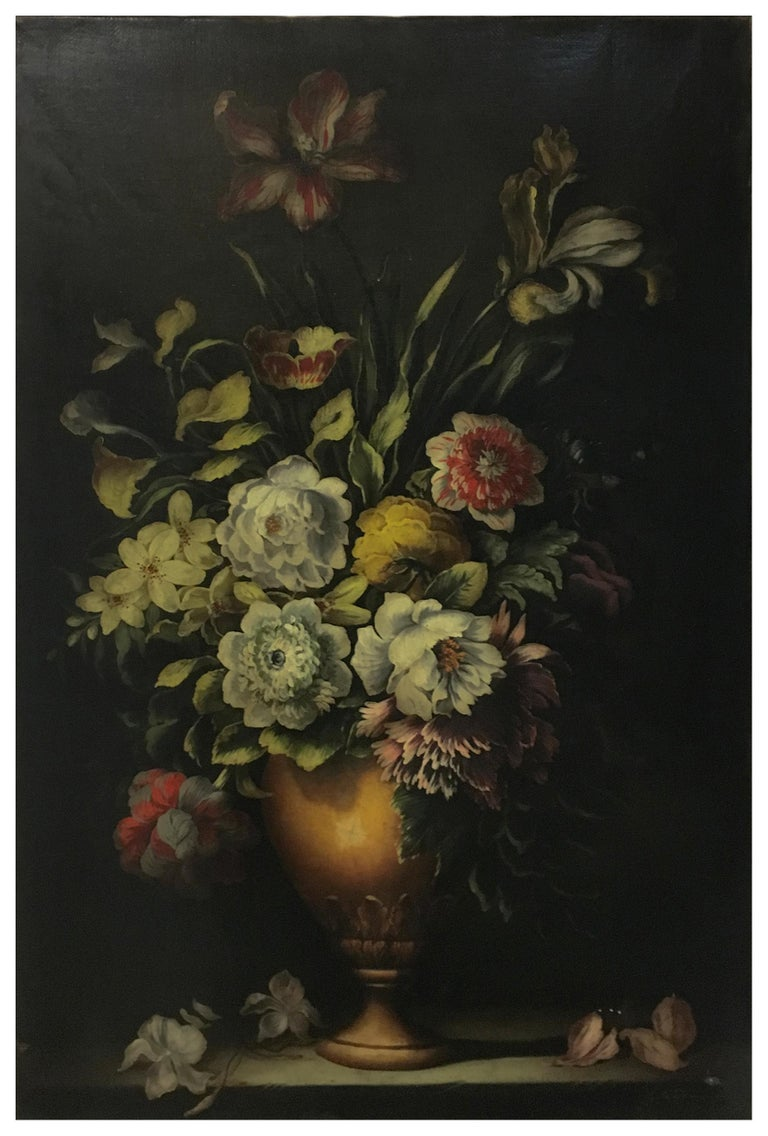 Flowers - Carlo De Tommasi Italia 2008 - Oil on canvas cm. 90x60 Gold leaf gilded and mahogany lacquered wooden frame cm.116x86