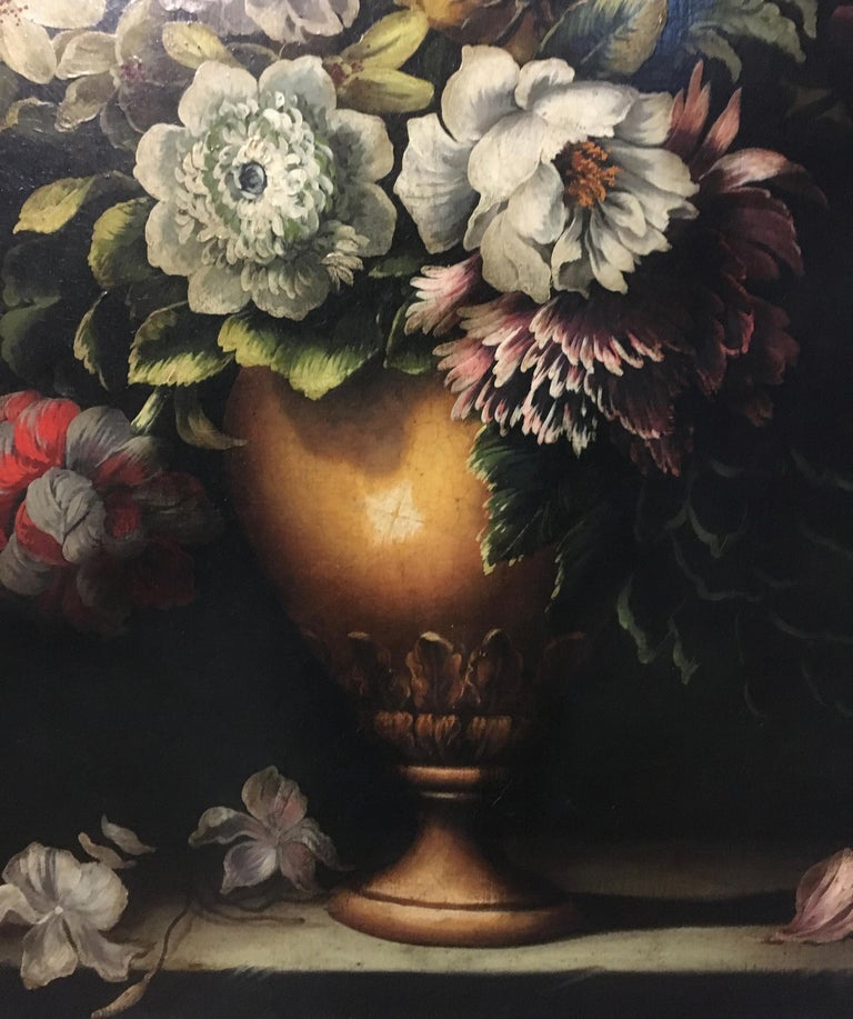 FLOWERS - Italian still life oil on canvas painting, Carlo De Tommasi For Sale 1