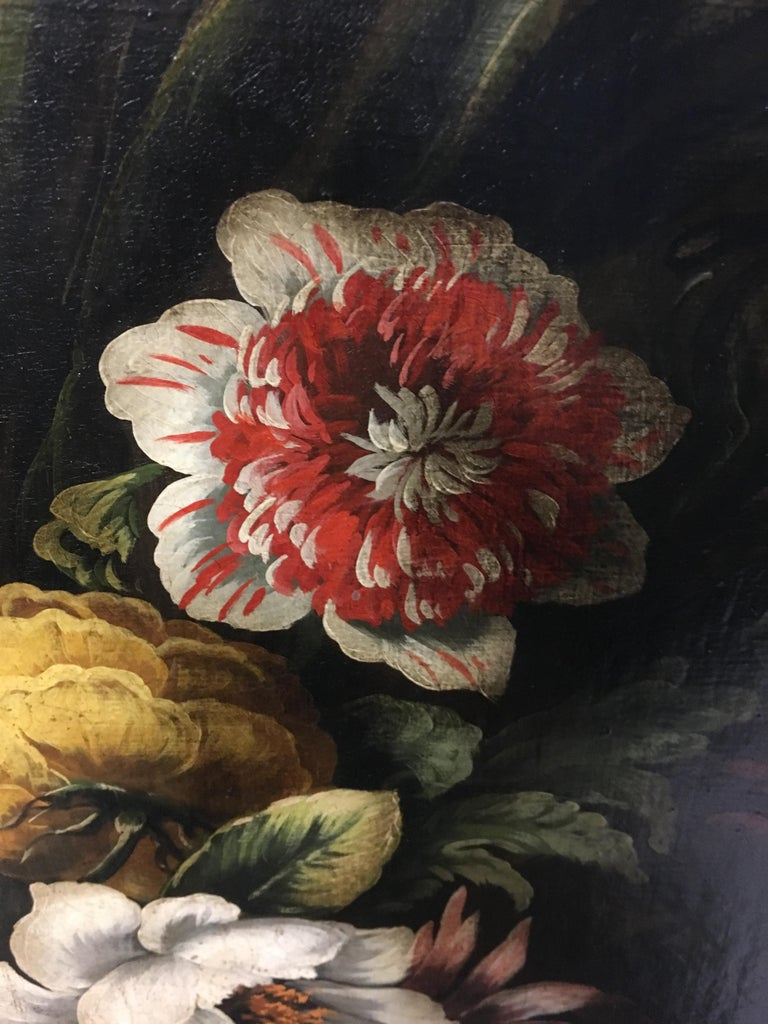 FLOWERS - Italian still life oil on canvas painting, Carlo De Tommasi For Sale 3