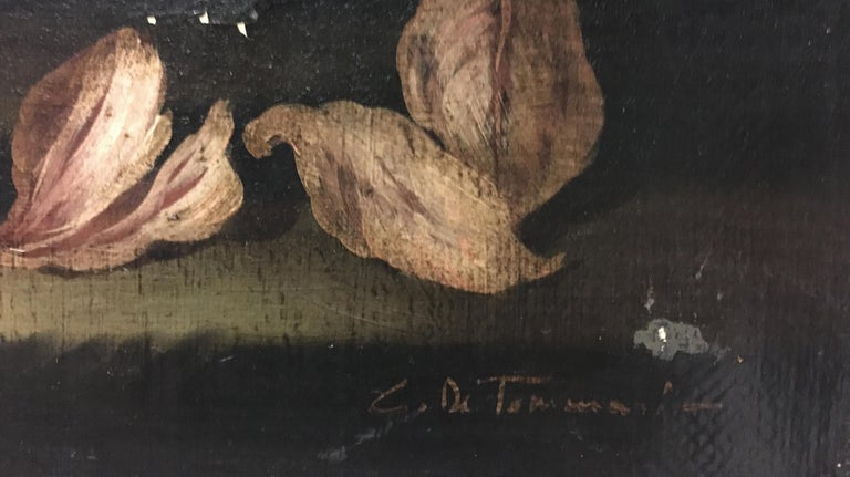 FLOWERS - Italian still life oil on canvas painting, Carlo De Tommasi For Sale 4