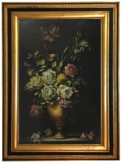 FLOWERS - Italian still life oil on canvas painting, Carlo De Tommasi