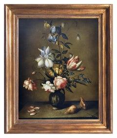 FLOWERS - Dutch SchooI -Italian Still Life Oil on Canvas Painting