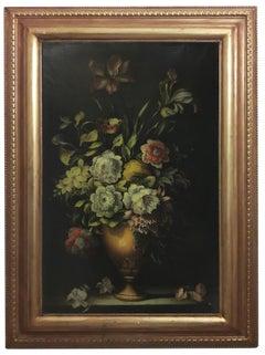 FLOWERS - Dutch School -Italian Still Life Oil on Canvas Painting