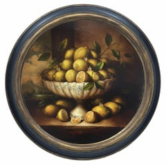 LEMMONS -In the Manner of Abraham - Italian Still Life Oil on Canvas Painting
