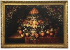 TRIUMPH OF FRUIT - Italian still life oil on canvas painting by Carlo De Tommasi