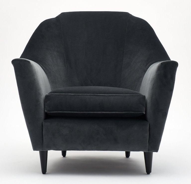 Mid-Century Modern Carlo di Carli Italian Velvet Armchairs For Sale