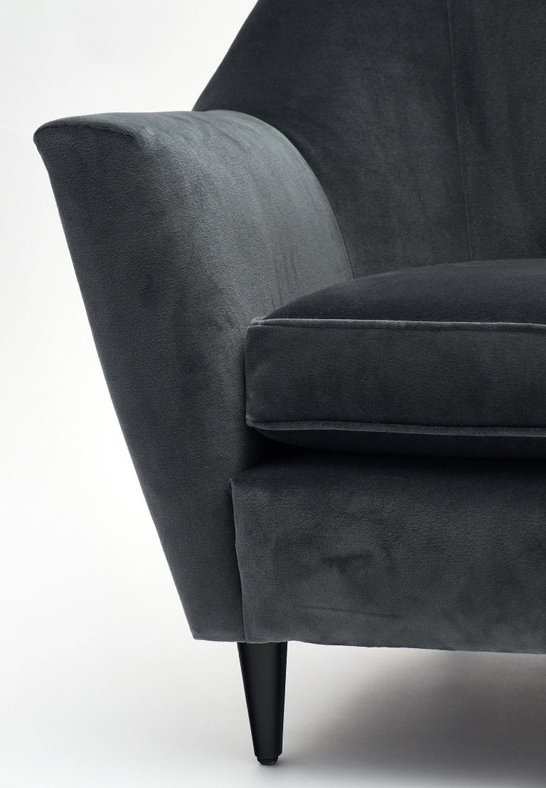 Carlo di Carli Italian Velvet Armchairs In Excellent Condition For Sale In Austin, TX