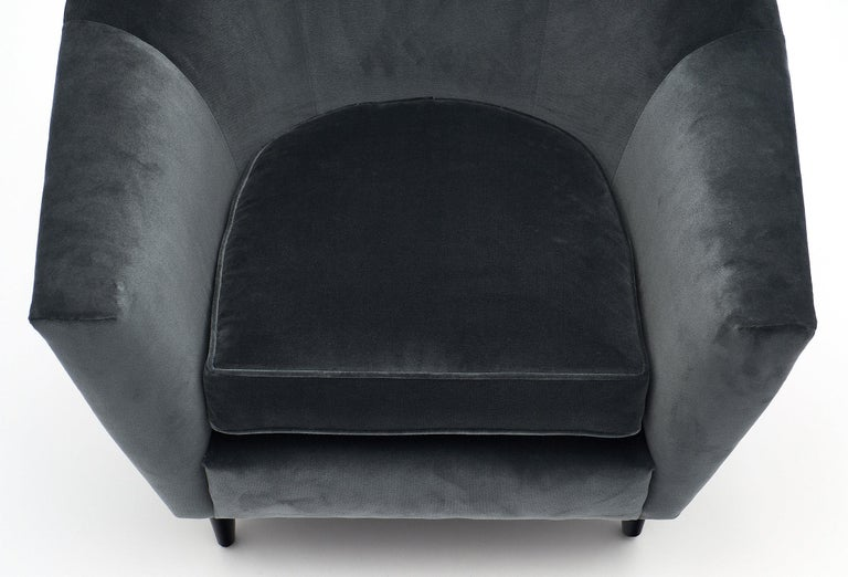 Late 20th Century Carlo di Carli Italian Velvet Armchairs For Sale