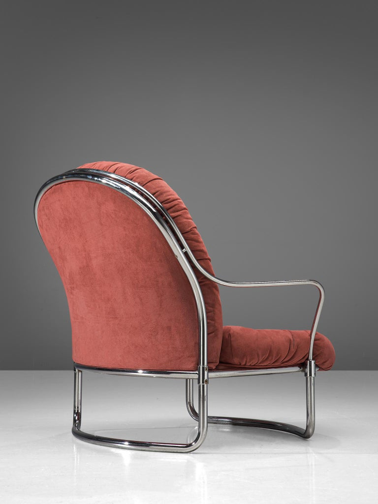 Carlo di Carli Lounge Chair with Ottoman in Coral Red Fabric For Sale 3