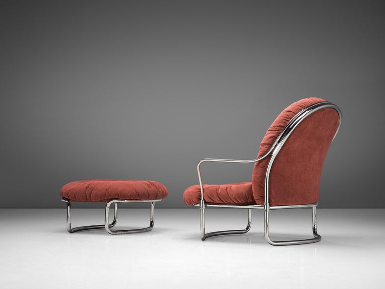 Carlo di Carli for Cinova, lounge chair with ottoman No. 915, metal and fabric, Italy, 1969.  Elegant, tubular armchair with ottoman designed by Carlo di Carli in 1969 and manufactured by Cinova/Italy. The model features a curved, nickled plated