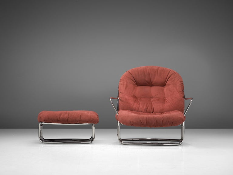 Mid-Century Modern Carlo di Carli Lounge Chair with Ottoman in Coral Red Fabric For Sale