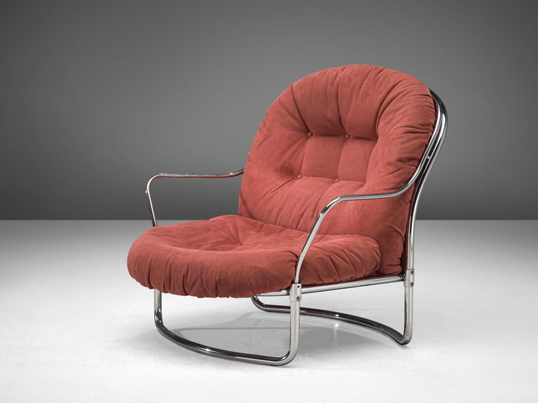 Carlo di Carli Lounge Chair with Ottoman in Coral Red Fabric In Good Condition For Sale In Waalwijk, NL