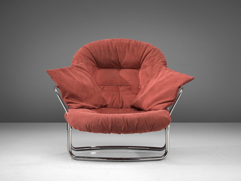 Mid-20th Century Carlo di Carli Lounge Chair with Ottoman in Coral Red Fabric For Sale