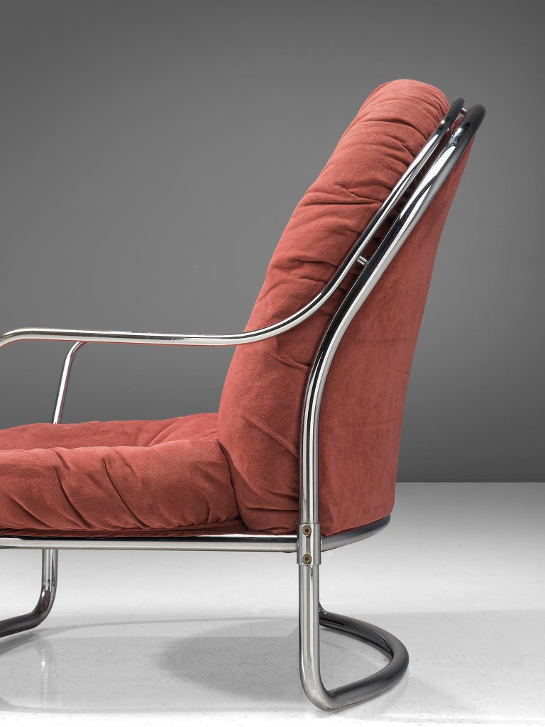 Metal Carlo di Carli Lounge Chair with Ottoman in Coral Red Fabric For Sale