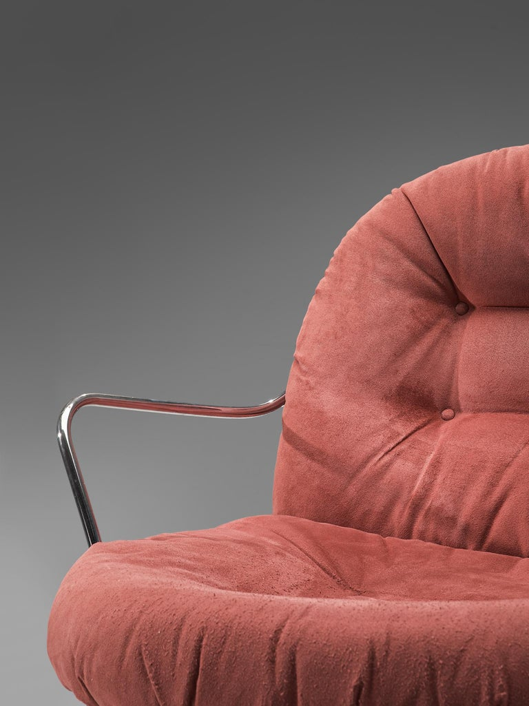 Carlo di Carli Lounge Chair with Ottoman in Coral Red Fabric For Sale 2