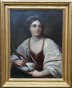 Portrait of St Catherine Holding a Dove - Venetian Old master art oil painting