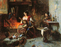 Happy hours in the family. Oil painting, XIX century. Italian school Realism