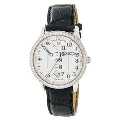 Carlo Ferrara Regolatore MCMXCVII Mens Automatic Watch White Dial Diamond Bezel