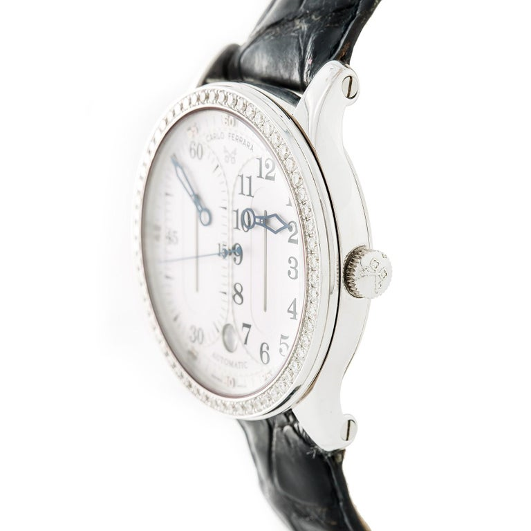 Contemporary Carlo Ferrara Regolatore Rmmcmxcvii With Stainless-Steel Bezel & White Dial For Sale