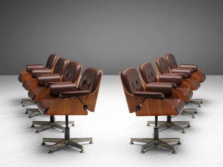 Brazilian Carlo Fongaro Set of Eight Conference Chairs 'Probjeto' in Mahogany and Leather For Sale