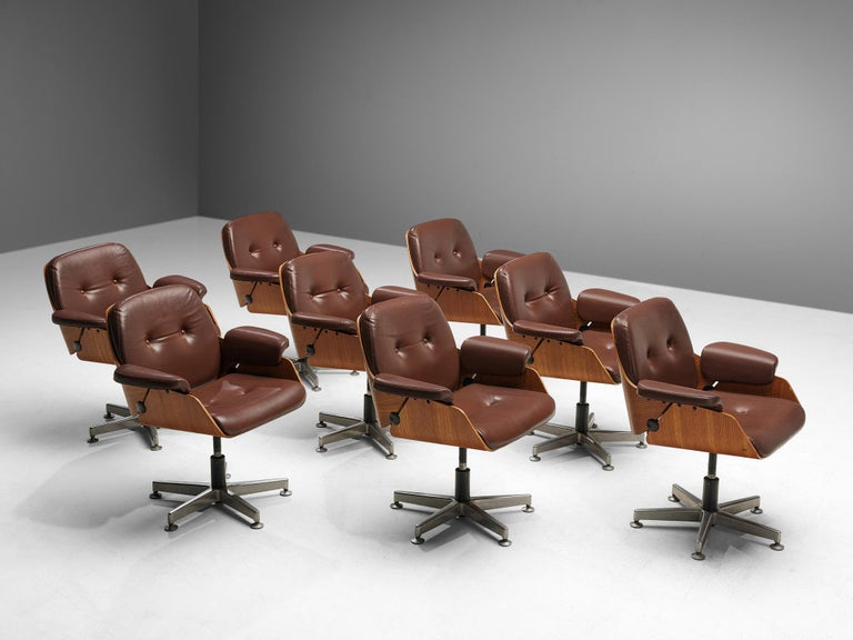 Aluminum Carlo Fongaro Set of Eight Conference Chairs 'Probjeto' in Mahogany and Leather For Sale