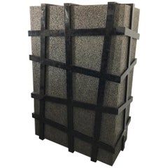 Monumental Large Black Terrazzo Stone and Black Sea Penshell Damar Cabinet
