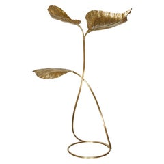 Carlo Giorgi Brass Floor Lamp with Three Leaves, Italy 1970 Tommaso Barbi