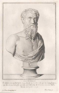 Aristomachus, Ancient Greek, C18th Grand Tour Roman bust engraving, 1741