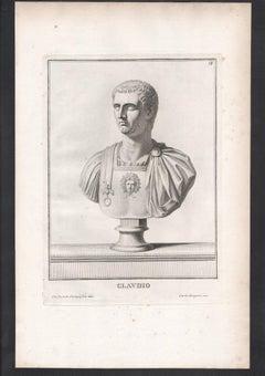 Set of 9 Roman Emperor bust C18th Grand Tour engravings, c1750