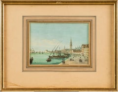 19th century Italian view of Venice - Venetian tempera on paper Italy Louis XVI
