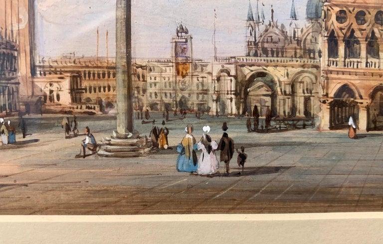 19th century Venetian painting - Carlo Grubacs - View Venice - Gouache paper For Sale 6