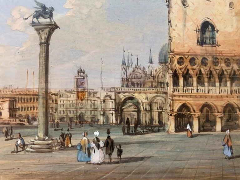 19th century Venetian painting - Carlo Grubacs - View Venice - Gouache paper For Sale 7