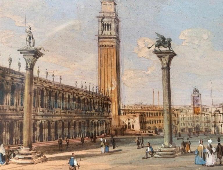 19th century Venetian painting - Carlo Grubacs - View Venice - Gouache paper For Sale 8