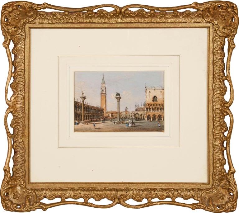 19th century Venetian painting - Carlo Grubacs - View Venice - Gouache paper - Realist Painting by Carlo Grubacs