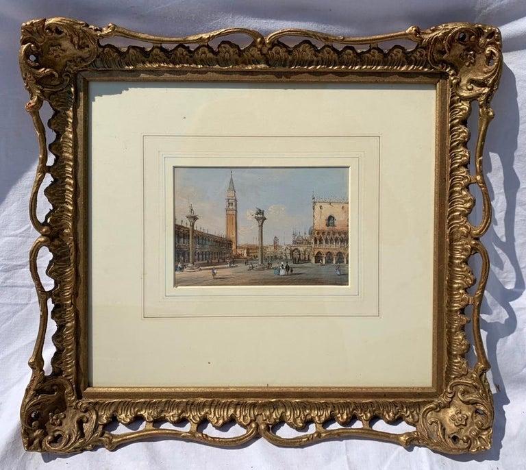 19th century Venetian painting - Carlo Grubacs - View Venice - Gouache paper - Beige Figurative Painting by Carlo Grubacs