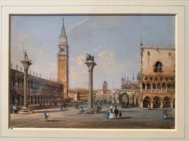 Carlo Grubacs (Perasto 1801 - Venice 1864) - View of Piazza S. Marco in Venice towards the Clock Tower.   Tempera on paper, in a carved and gilded wooden frame.   14 x 19.5 cm without frame, 29 x 34 cm with frame.   Condition report: Excellent state