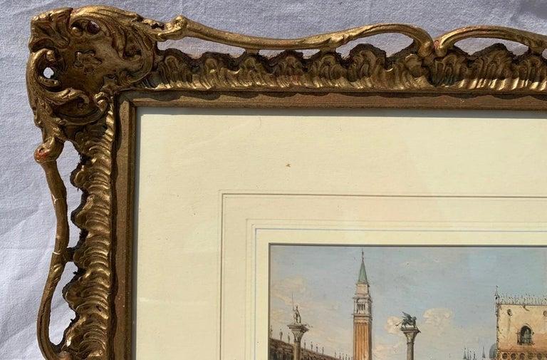 19th century Venetian painting - Carlo Grubacs - View Venice - Gouache paper For Sale 1