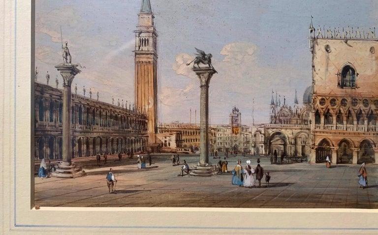 19th century Venetian painting - Carlo Grubacs - View Venice - Gouache paper For Sale 2