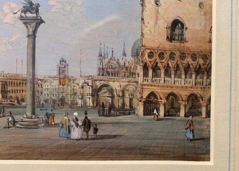 19th century Venetian painting - Carlo Grubacs - View Venice - Gouache paper For Sale 3