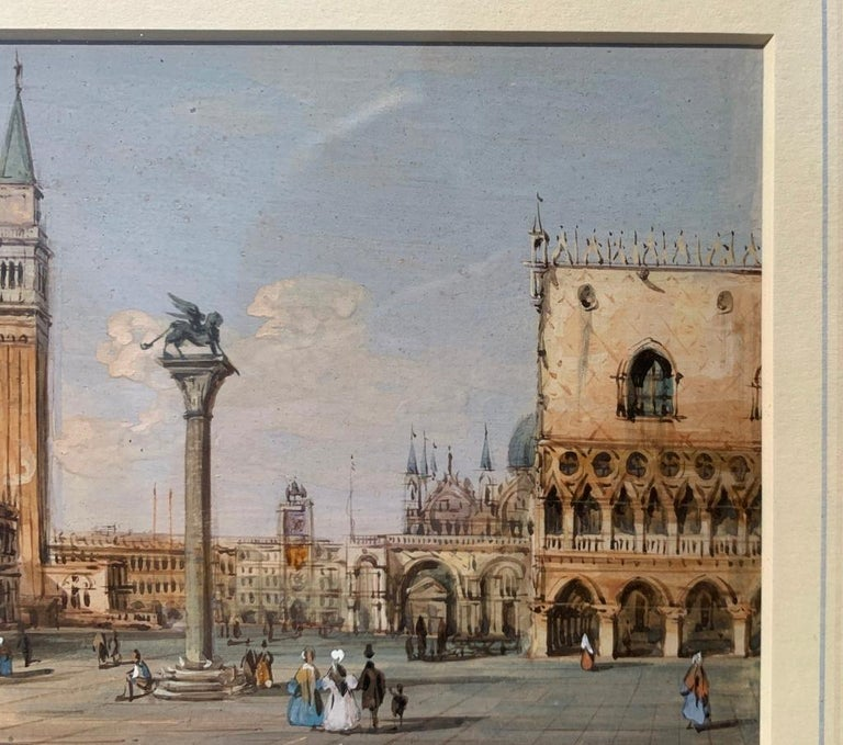 19th century Venetian painting - Carlo Grubacs - View Venice - Gouache paper For Sale 4