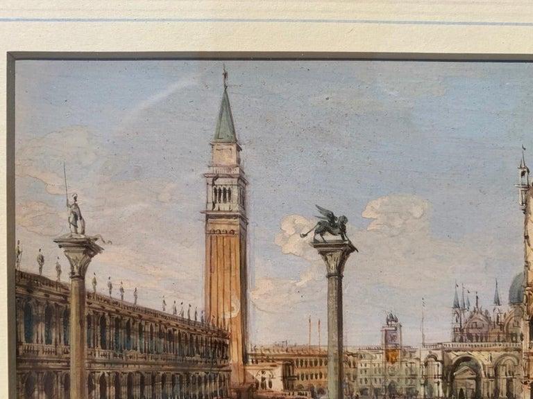 19th century Venetian painting - Carlo Grubacs - View Venice - Gouache paper For Sale 5